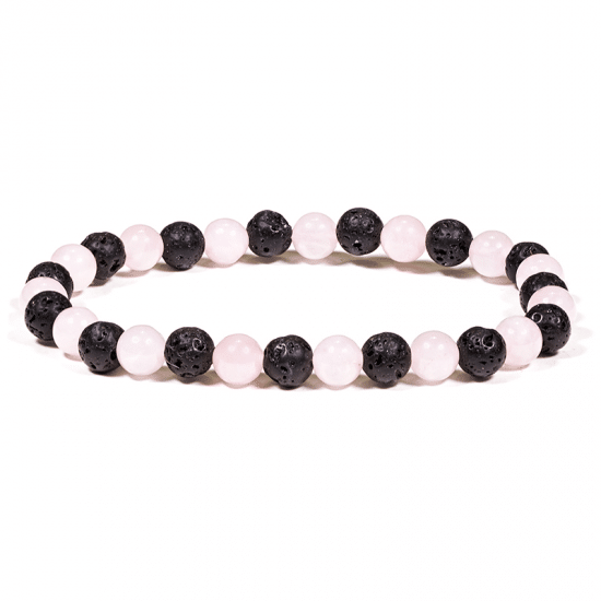 Bracelet Pierre de Lave / Quartz Rose 8mm
