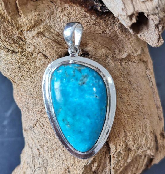 Pendentif Turquoise Monture Argent réf 3556
