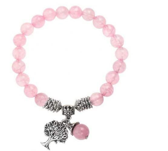 Bracelet Quartz Rose Arbre de Vie 8mm