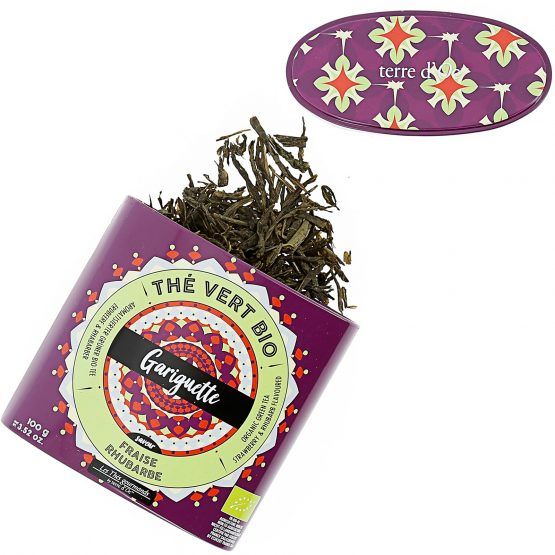 GARIGUETTE thé vert bio Saveur fraise & rhubarbe Terre D'oc