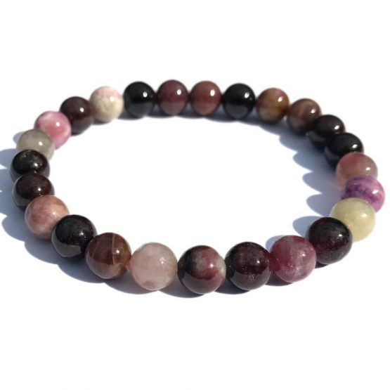 Bracelet tourmaline multicolore 8mm