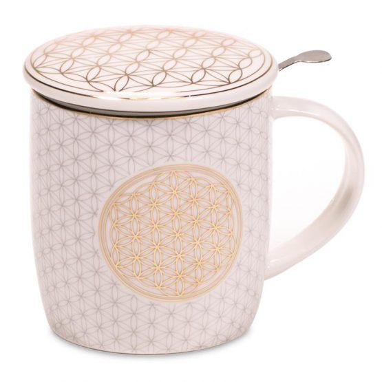 Boîte cadeau infuseur à thé Mug Fleur de Vie 400ml
