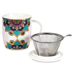 Boîte cadeau infuseur à Thé Mug Mandala turquoise 400ml