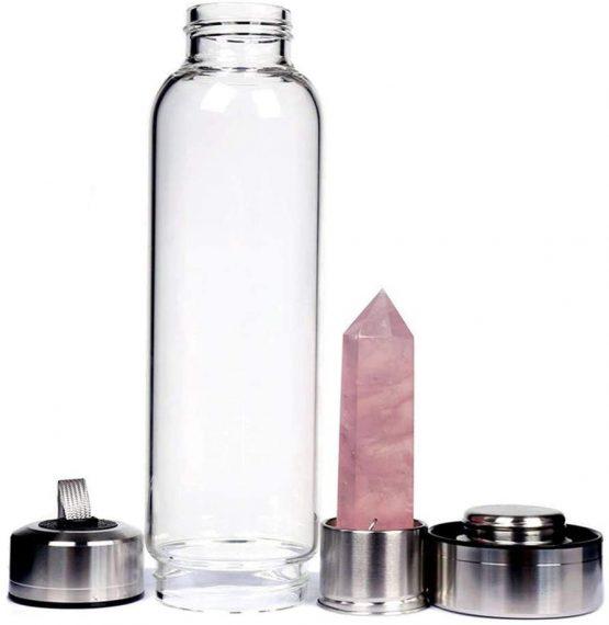 Bouteille de Guérison «Elixir de Pierre» Quartz rose